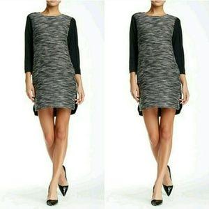 VINCE BLACK WHITE GRAY TEXTURED SHIFT DRESS